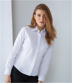 Henbury Ladies Long Sleeve Pinpoint Oxford Shirt