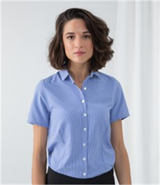 Henbury Ladies Gingham Short Sleeve Shirt