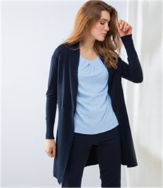 Henbury Ladies Long Line Open Cardigan