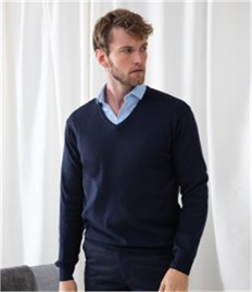 Henbury Lightweight Cotton Acrylic V Neck Sweater