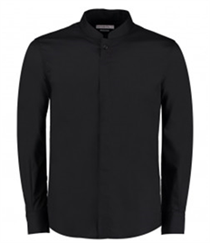 Kustom Kit Long Sleeve Tailored Mandarin Collar Shirt