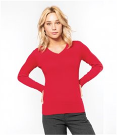 Kariban Ladies Cotton Acrylic V Neck Sweater