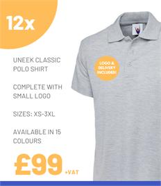 12 x Uneek Classic Polo Shirts
