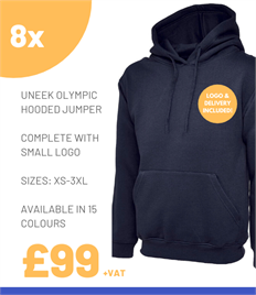 8 x Uneek Olympic Hooded Jumpers
