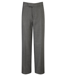 Boys Flat Front Grey Trousers