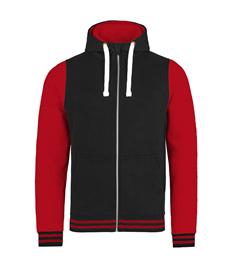 Rushden Runners Black/Red Unisex Zipped Hoodie