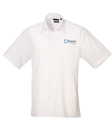 Embroidered Short Sleeve White Office Shirt