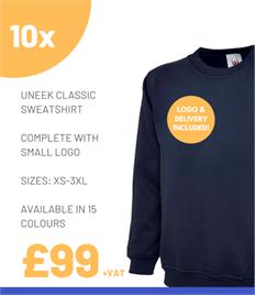 10 x Uneek Classic Sweatshirts